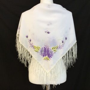 Accessories - Hand painted White Fringe Shawl Purple Floral